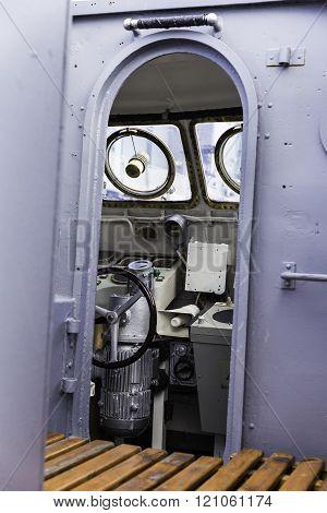 Warship control bridge view, selective focus