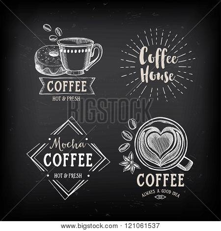 Coffee restaurant cafe badges, template design.