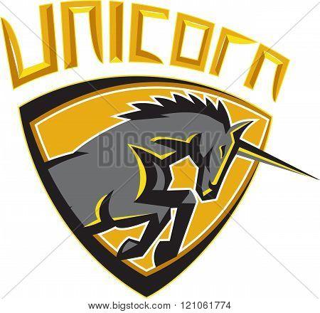 Black Unicorn Horse Head Charging Crest Retro