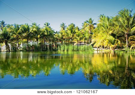Carribean resort with beautiful tropical garden and lake Dominican Republic