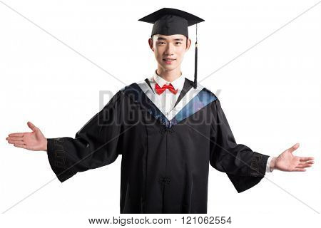 gesture and pose of asian young man with education gown