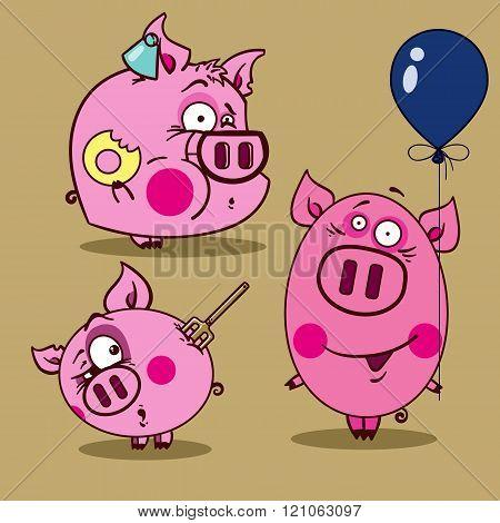 Illustration Of Pink Pigs