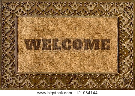 Rug for entrance with Welcome caption