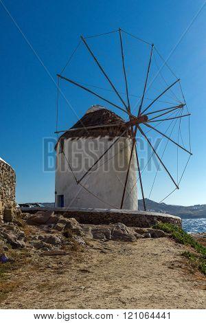 White windmill on the island of Mykonos, Greece