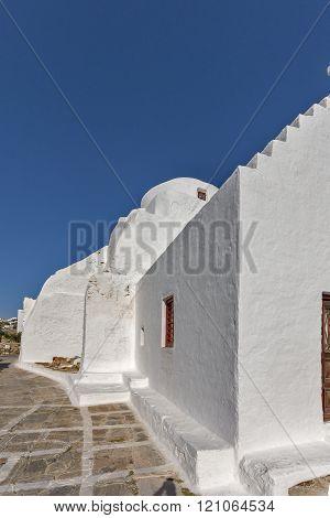 Medieval White orthodox church in Mykonos, Greece