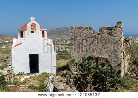 The ruins of a medieval fortress and White church, Mykonos island, Greece