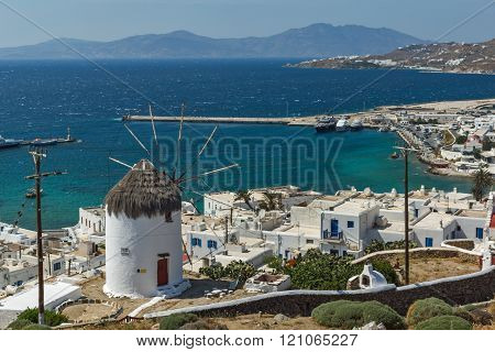 Panoramic view of Aegean sea and island of Mykonos, Greece