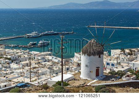 Amazing Panorama of white windmill and island of Mykonos, Greece