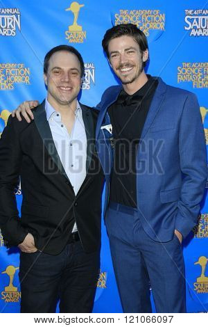 BURBANK - JUN 25: Geoff Johns, Grant Gustin at the 41st Annual Saturn Awards at The Castaway on June 25, 2015 in Burbank, California,