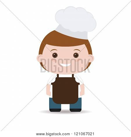 cook cap. man in flat style isolated on white background.
