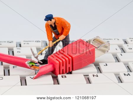 workers, network connector, keyboard