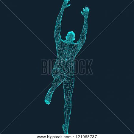 Jump Man. Polygonal Design. 3D Model of Man. Geometric Design. Business, Science and Technology Vector Illustration. 3d Polygonal Covering Skin. Human Polygon Body. Human Body Wire Model.