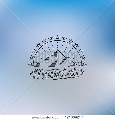 Mountain lineart logo. Mountain hipster logo. Mountain logo. Mountain retro logo. Mountain vintage l