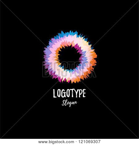 Color wheel, donut, circle. Vibration. Abstract vector logo.