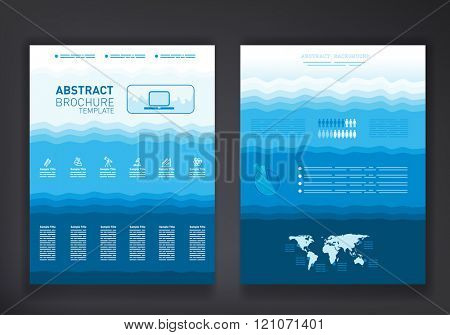 Abstract brochure template with world map, educational icons set and place for input