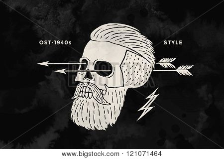 Poster Of Vintage Skull Hipster Label For T-shirt Print