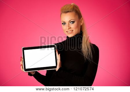 Woman holding tablet computer with blanck screen for commercial, promotion, advertising message.