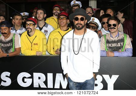 LOS ANGELES - MAR 3: A J McLean at the Premiere of 'The Brothers Grimsby' at the Regency Village Theater on March 3, 2016 in Los Angeles, California