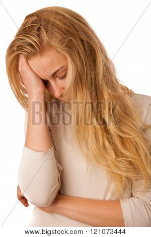Sick woman with flu, fever and headache or migraine isolated over white background.