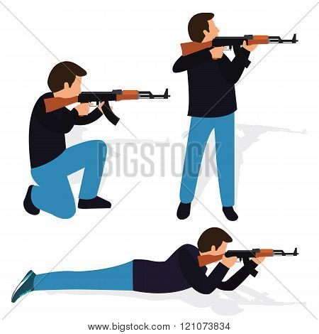 man shooting rifle gun weapon position shot action firearm standing prone kneeling aim target automa