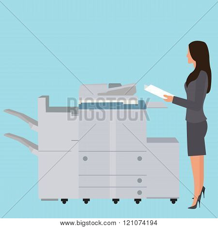 photo copy copier machine office woman standing copying document  big photocopier