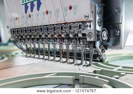 Kota Kinabalu, Sabah , Malaysia - December 02, 2015 : Embroidery machine needle in Textile Industry at Garment Manufacturers