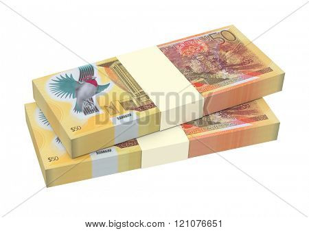 Trinidad and Tobago dollars bills isolated on white background. Computer generated 3D photo rendering.
