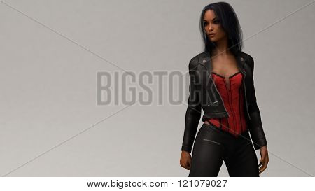 biker girl wearing black leather outfit