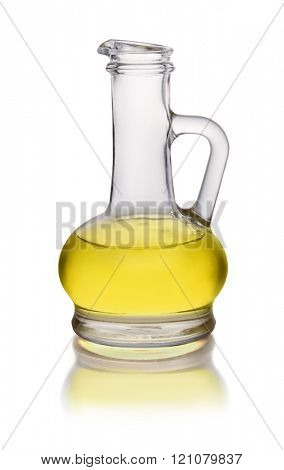 Glass cruet of olive oil isolated on white