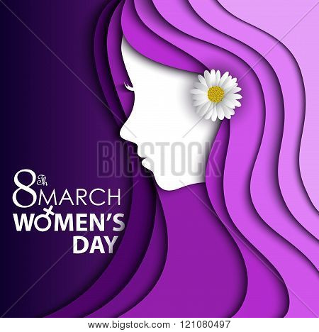 Women's Day greeting card with flower in ear on purple background with design of a women face and te