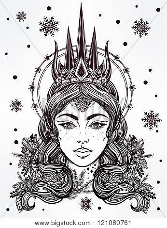 Fantasy Snow Queen  vector illustration
