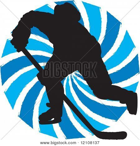 silhouette hockey player in participation symbol-vector also available