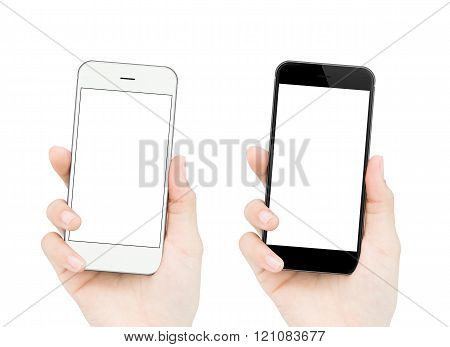 Woman Hand Holding Phone Isolated Clipping Path Inside Easy Adju