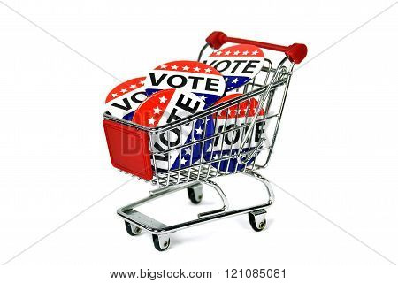 vote pins in shopping cart