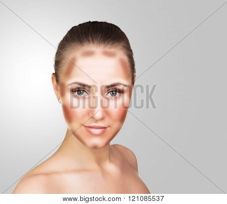 Make up woman face. Contour and Highlight makeup.