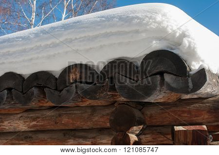 timbered roof of a wooden house