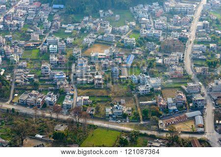 Suburbs of Pokhara aerial view, Nepal