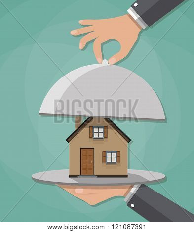 Hand opens serve cloche with house inside. present concept. vector illustration in flat design on gr