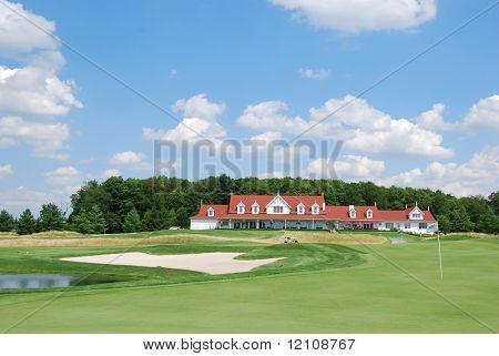 golf course with clubhouse