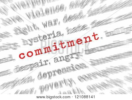 Blured Text Zoom Effect With Focus On Commitment