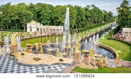 Fountains Grand Cascade in Petergof, Russia