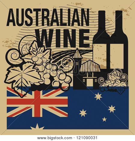 Grunge Rubber Stamp Or Label With Words Australian Wine
