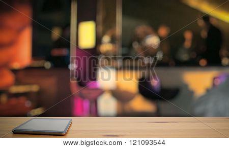 modern tablet, bar in a night club