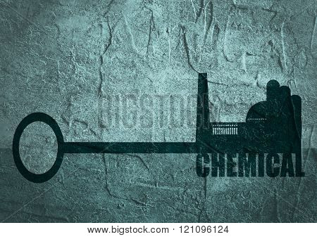 Illustration Concept, Hand Holding A Key Of Chemical Industry