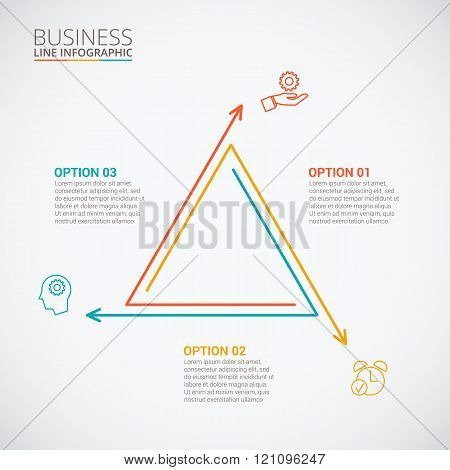 Thin line flat triangle for infographic.