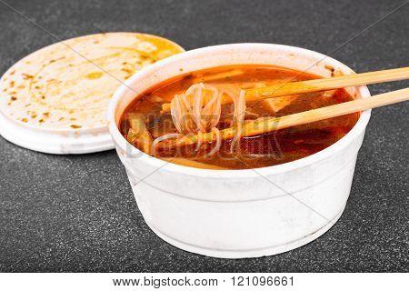 WOK soup - rice noodles, tofu, tomato base.
