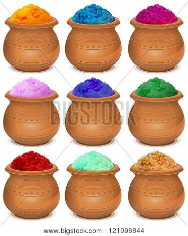 Set ceramic pot of paint holi. Festival of colors Holi