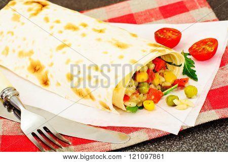 Burrito, Shawarma Lavash with Chicken and Vegetables