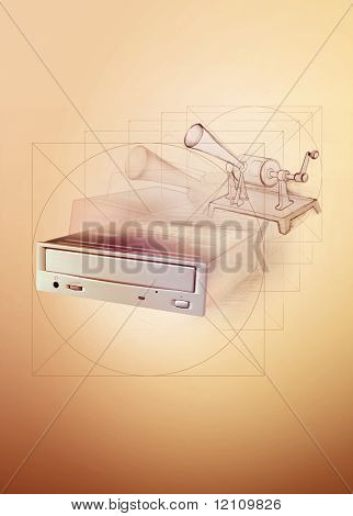 opening dvd recorder with disc