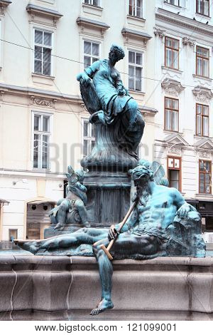 The Donner Fountain (donnerbrunnen) In Neuer Markt In Vienna, Austria